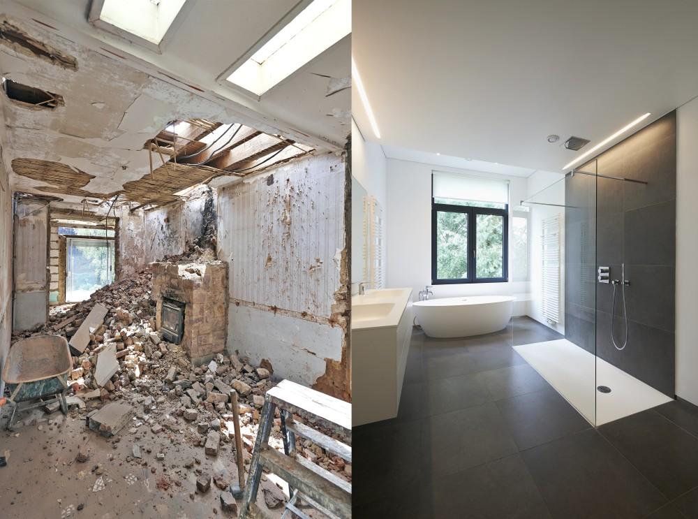 zdjęcie łazienki przed i po remoncie